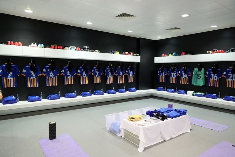 The Shrewsbury Town kit laid out in the London Stadium away dressing room